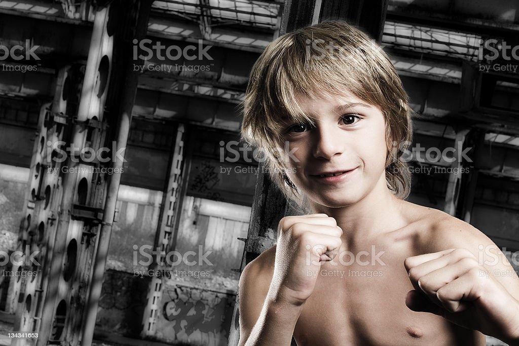 underground demolition boy stock photo
