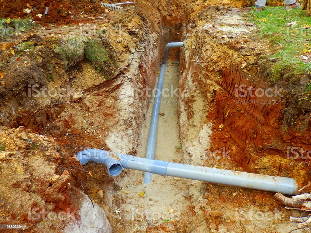Underground drainage pipes stock photo