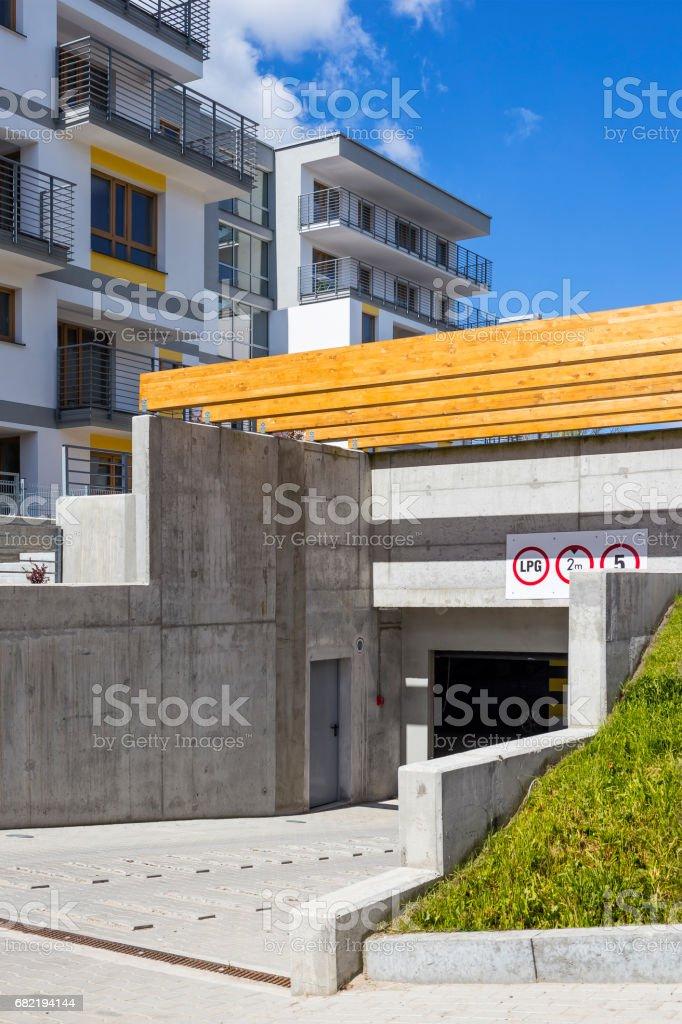 Underground garage in new modern complex of apartment building,...