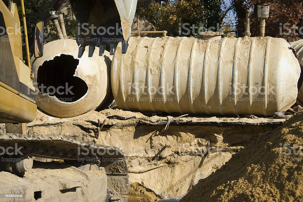 Underground Gas station storage tank replacement stock photo