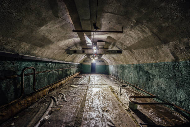 Underground hospital in a large abandoned Soviet bunker Underground hospital in a large abandoned Soviet bunker under Sevastopol bomb shelter stock pictures, royalty-free photos & images