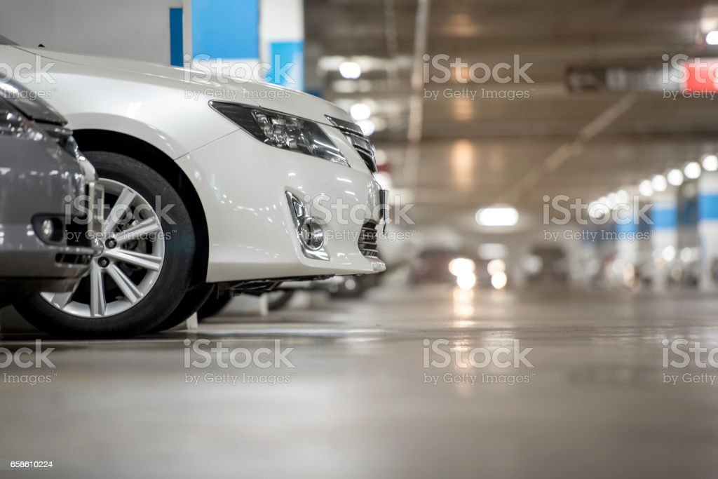 Underground japan white car parking/garage stock photo