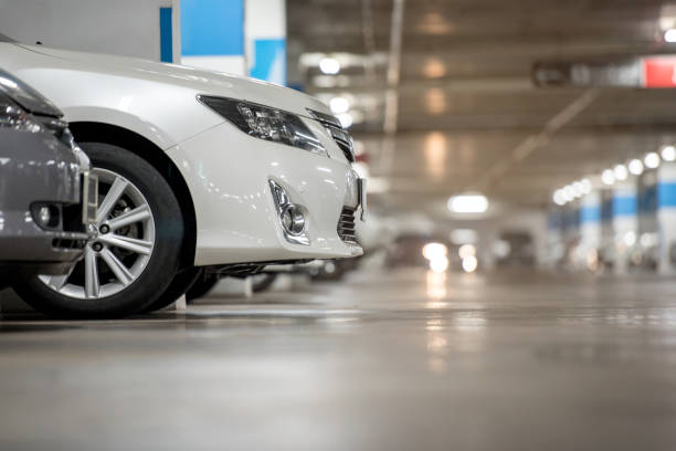 Underground japan white car parking/garage stock photo