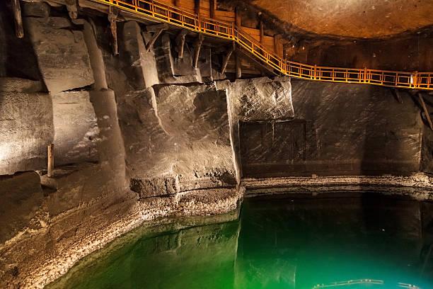 Underground lake in Wieliczka stock photo
