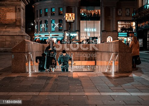 Newcastle upon Tyne, UK. 10/24/19. People coming up from the underground metro subway station on Grey's St.