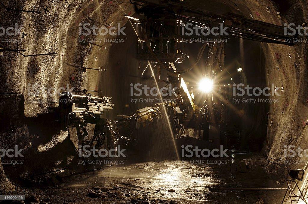 Underground mining site stock photo