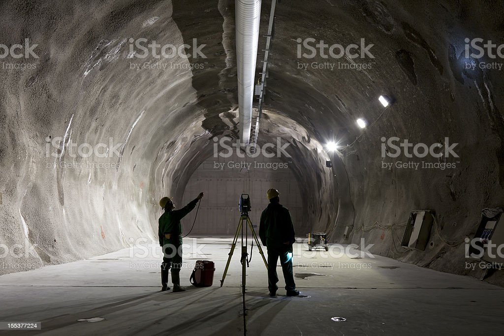 Underground mining workers stock photo