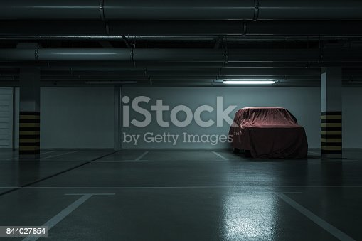istock Underground parking background 844027654