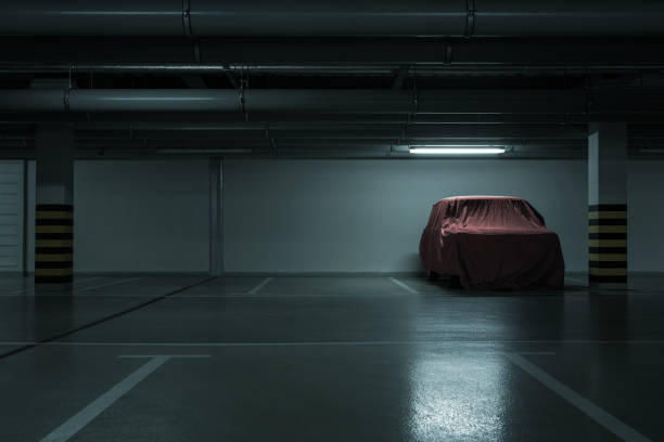 Underground parking background stock photo