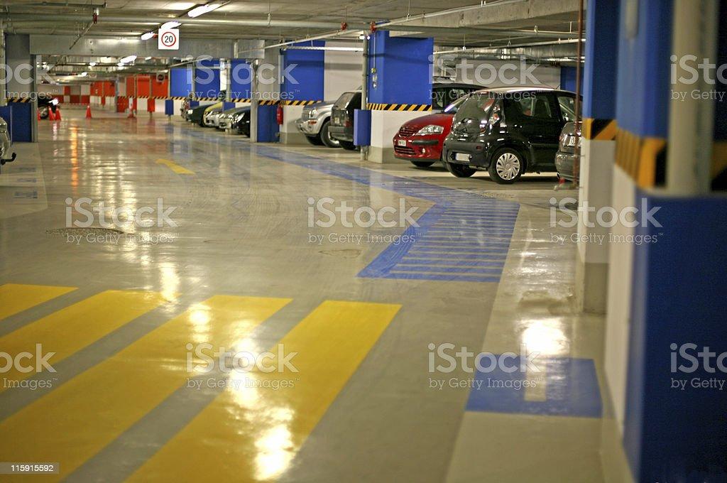 Underground parking garage stock photo