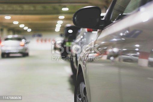 Close up of car in underground parking garage