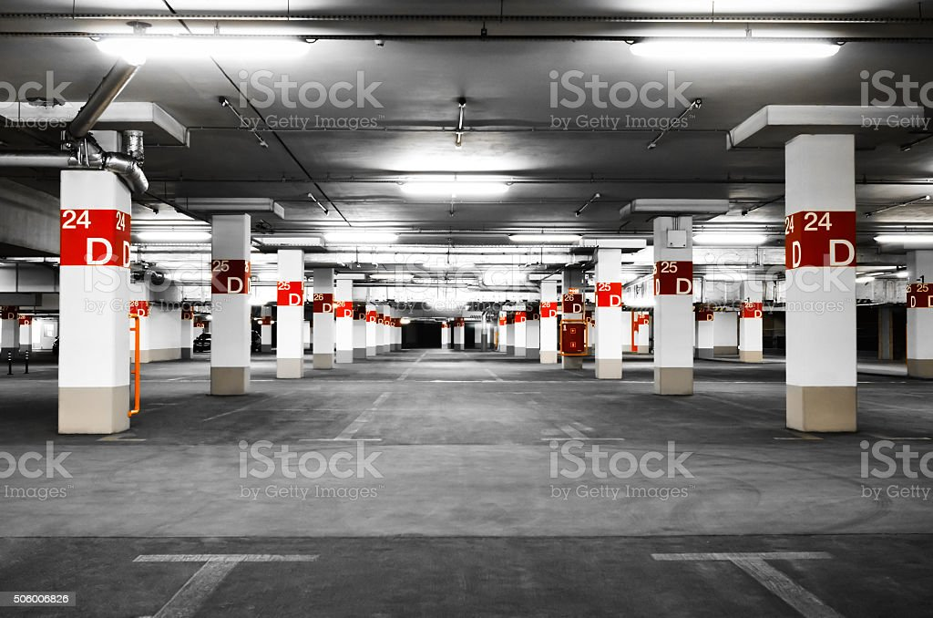 Underground parking selective stock photo