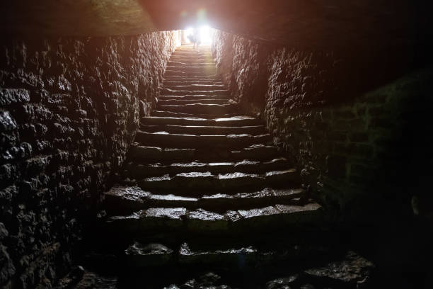 underground passage under old medieval fortress. old stone stairs to exit of tunnel - crypt stock pictures, royalty-free photos & images