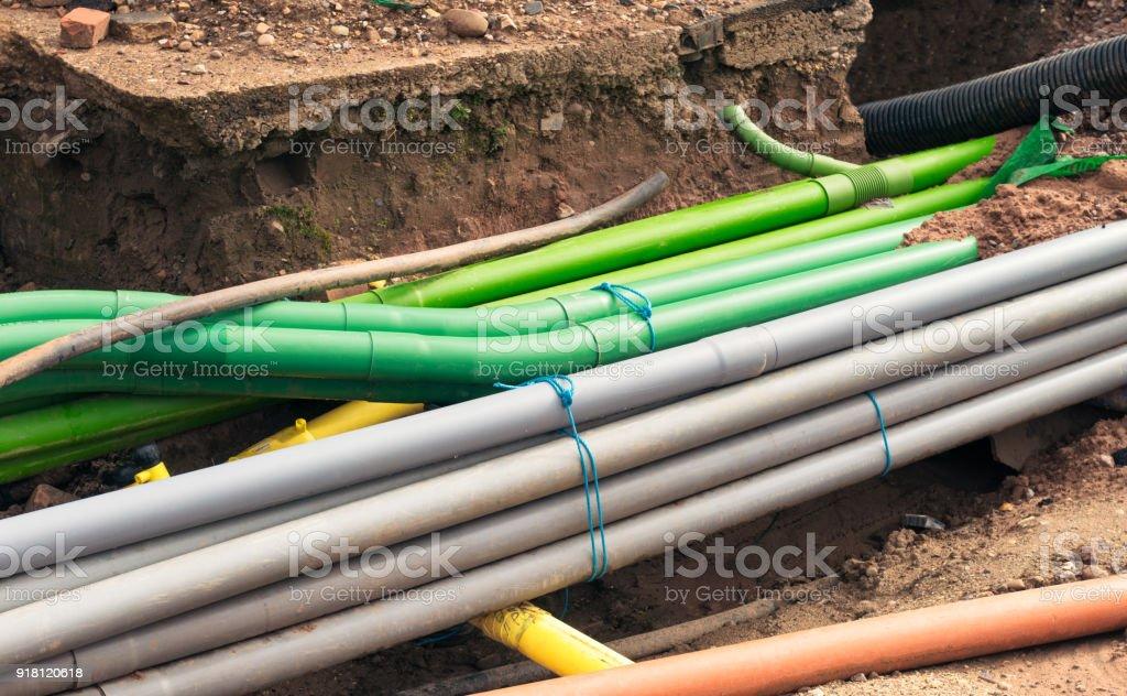 Underground pipe installation stock photo