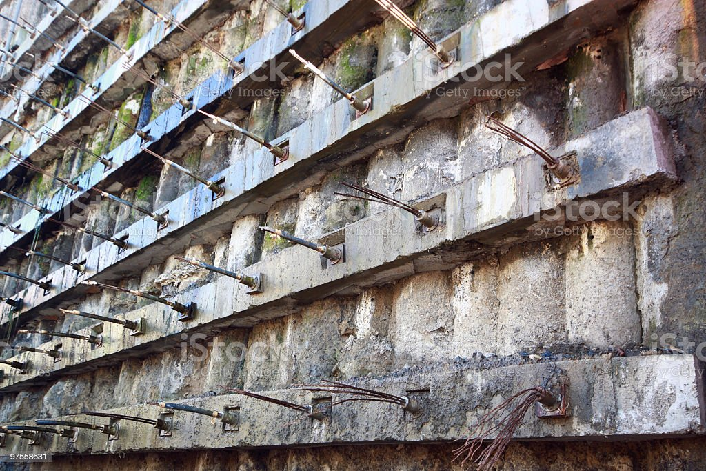 Underground Retaining Structure - concrete pile wall royalty-free stock photo