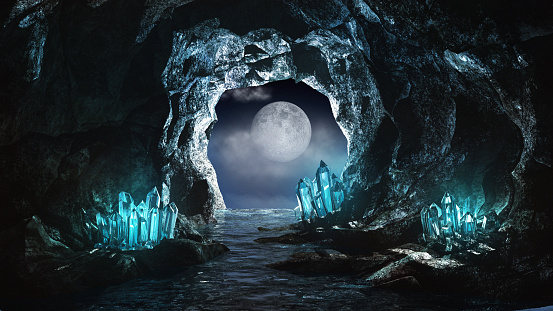 Underground river and blue crystals