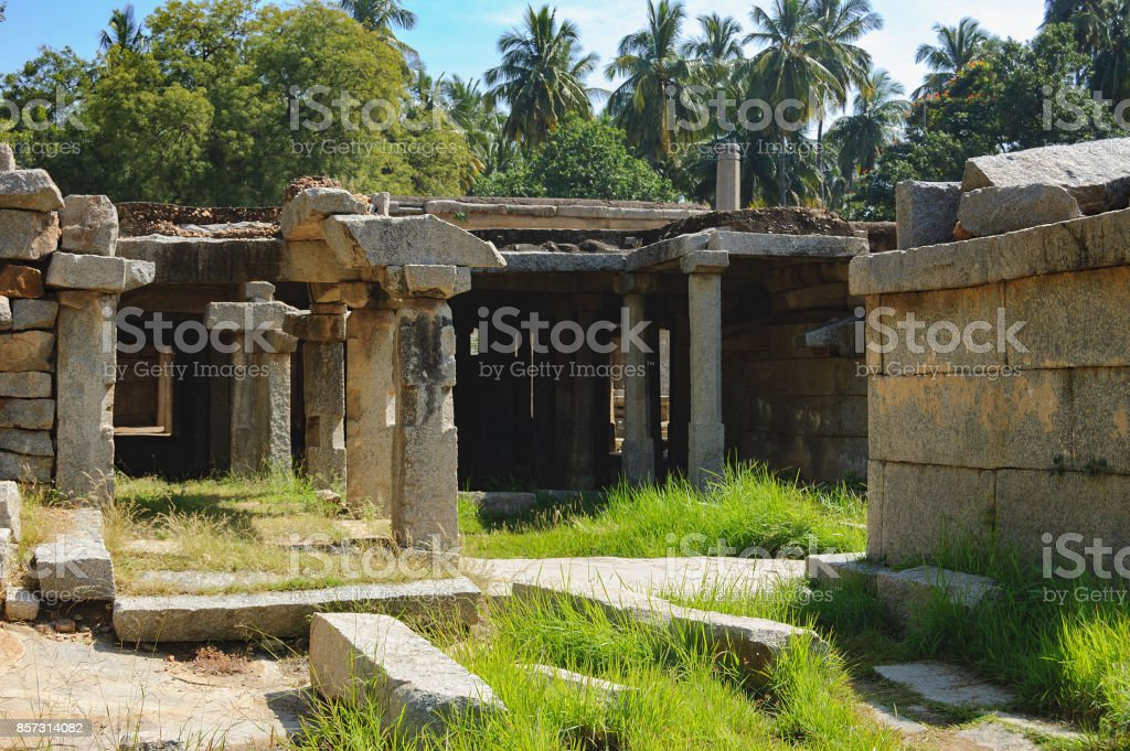 Underground Shiva Temple in Hampi, India stock photo