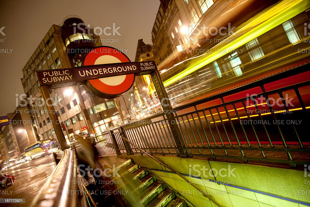 Underground sign in streets of London royalty-free stock photo