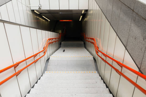 underground stairs with pigeon - wien foto e immagini stock