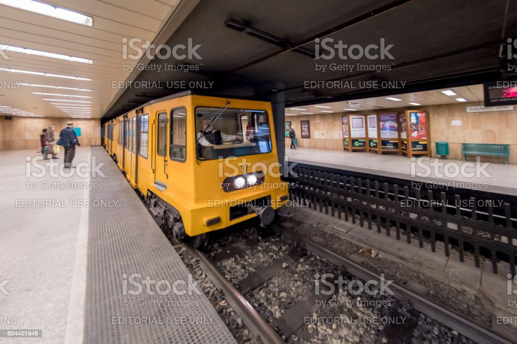 Underground station in Budapest, Hungary stock photo