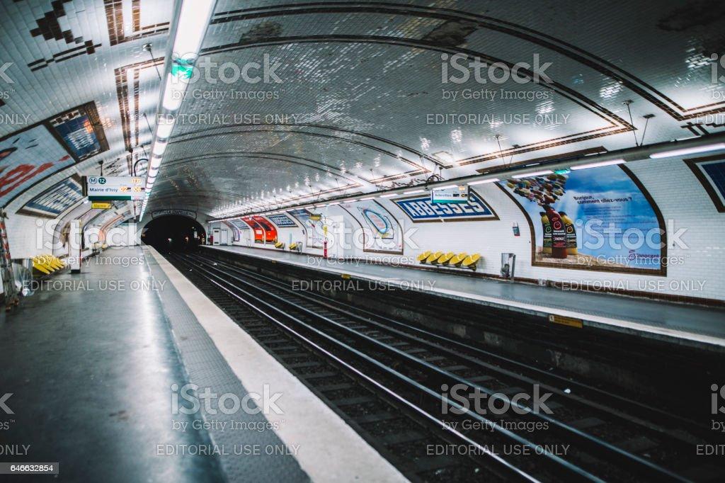 Underground station in Paris stock photo