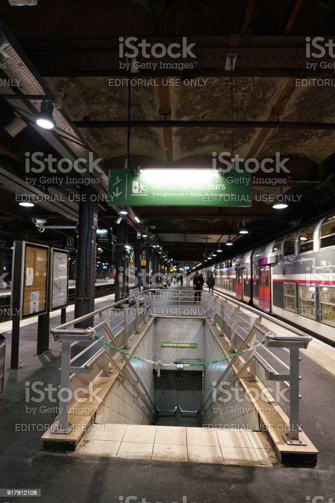 RER underground station in Paris stock photo