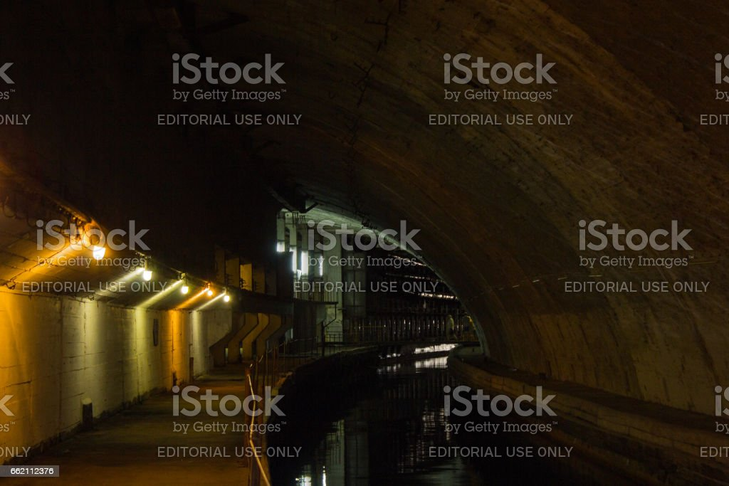 Underground submarine bunker from the Cold War. Ukraine, Sevastopol stock photo