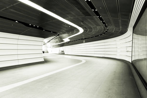 underground subway, black and white, background with copy space - barangaroo stock photos and pictures