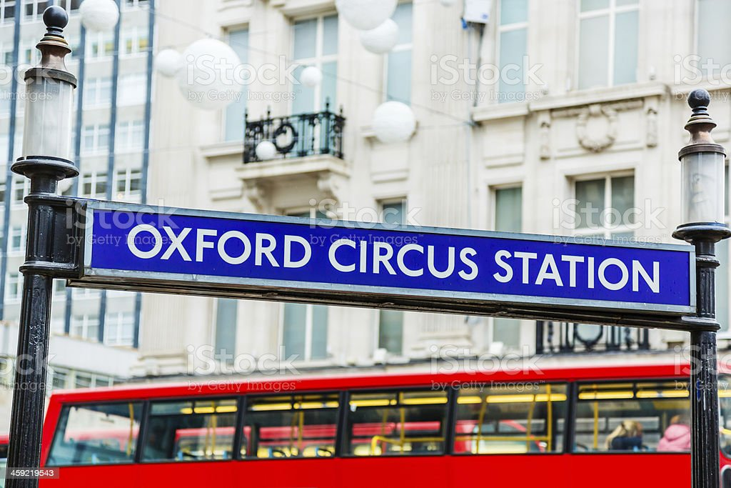 Underground subway station at Oxford Circus in London stock photo