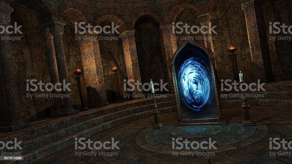 Underground temple with portal stock photo