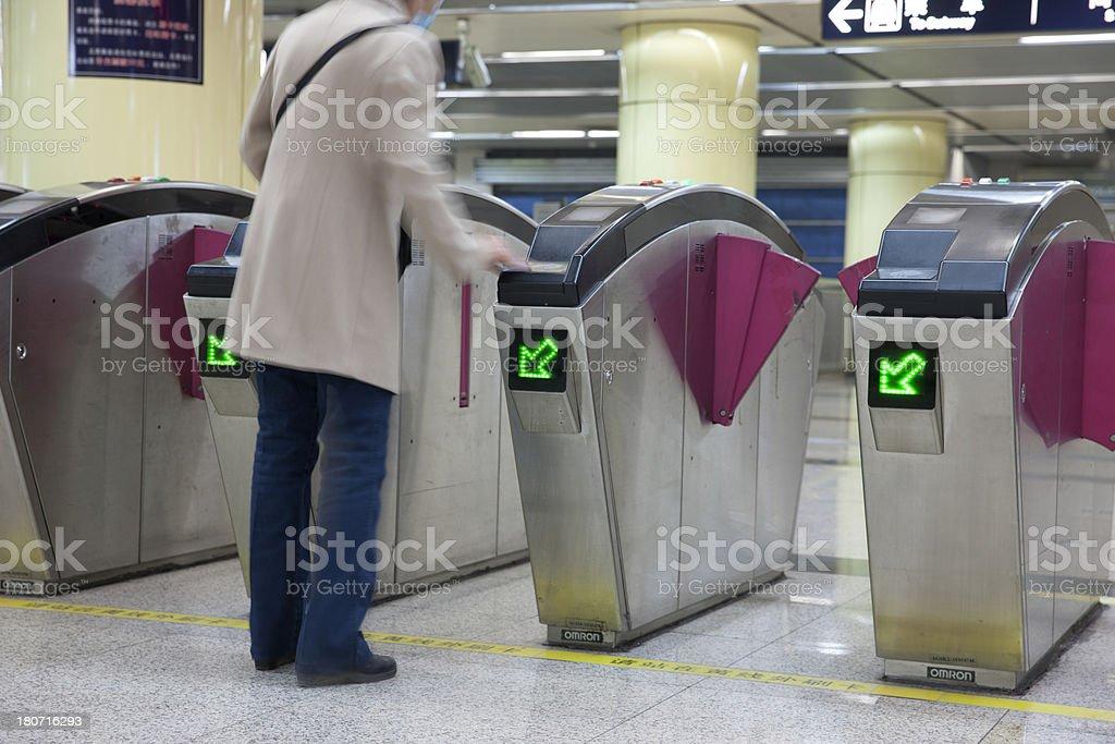 Underground ticket validation in Beijing royalty-free stock photo