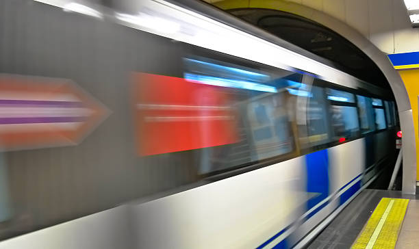 Underground train in motion stock photo