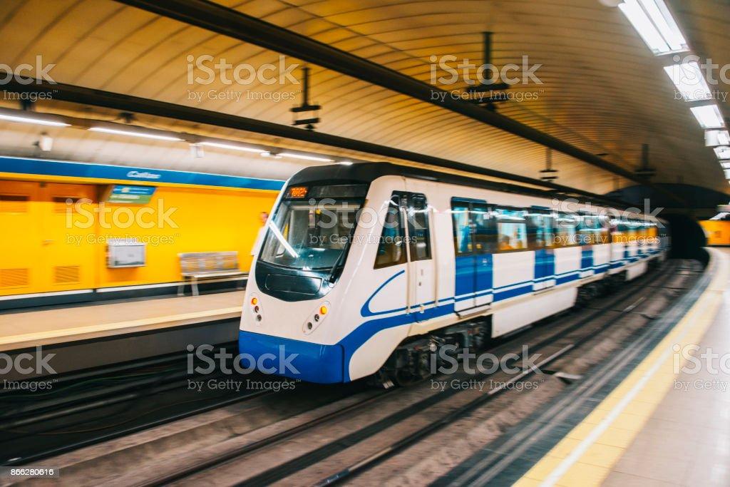 Underground train in motion stock photo