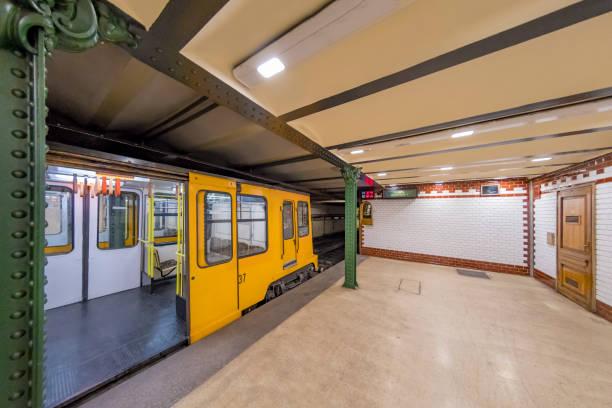 Underground train is open in Budapest, Hungary stock photo