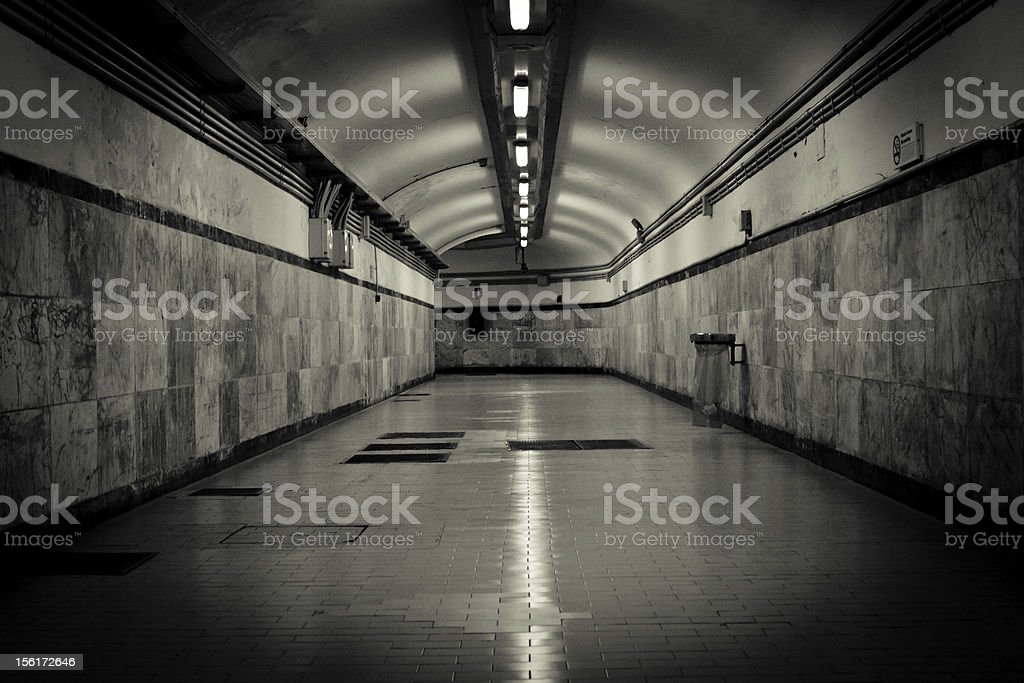 Underground Tunnel in Black and White royalty-free stock photo