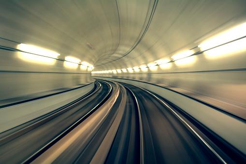 Underground Tunnel in Blurred Motion, Brescia, Italy