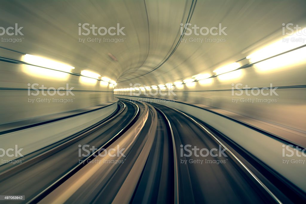 Underground Tunnel in Blurred Motion, Brescia, Italy stock photo