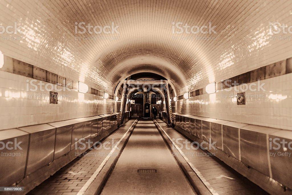 Underground tunnel with light stock photo
