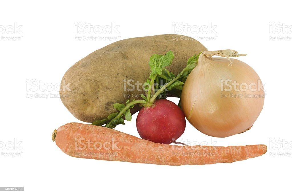 underground vegetables on white royalty-free stock photo