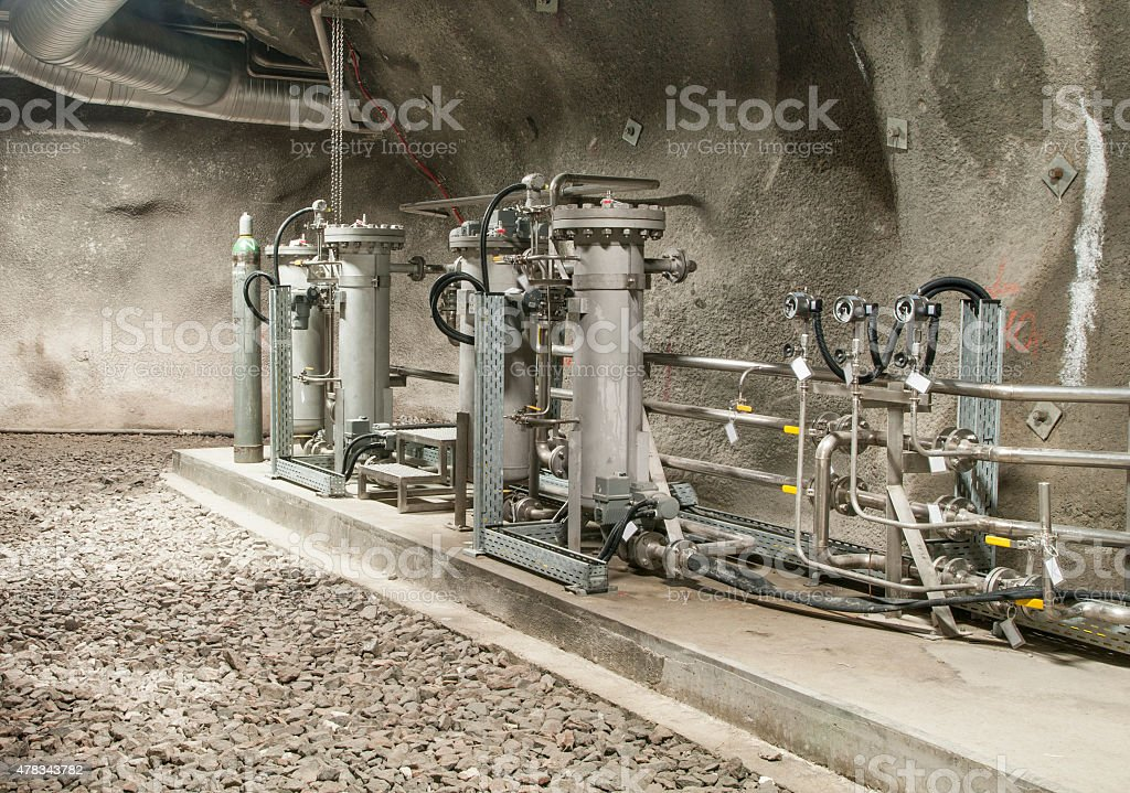 Underground water treatment station stock photo