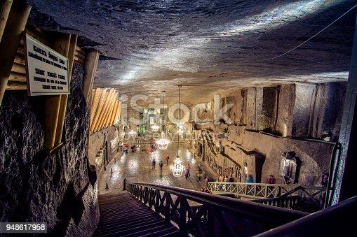 Underground Wieliczka Salt Mine (13th century), one of the world's oldest salt mines, near Krakow, Poland.