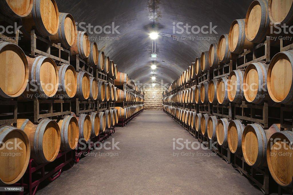 Adega de vinhos subterrânea - foto de acervo