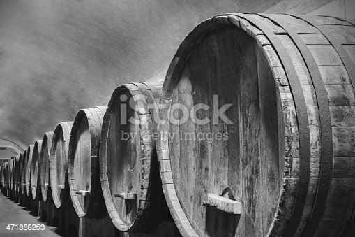 Underground Wine Cellar with wooden barrels