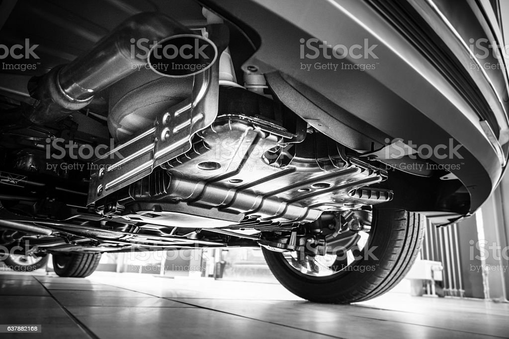 Underneath a car stock photo