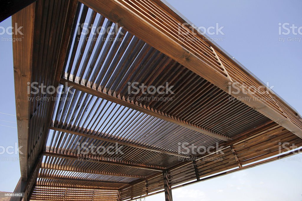 Underneath of brown wooden canopy stock photo