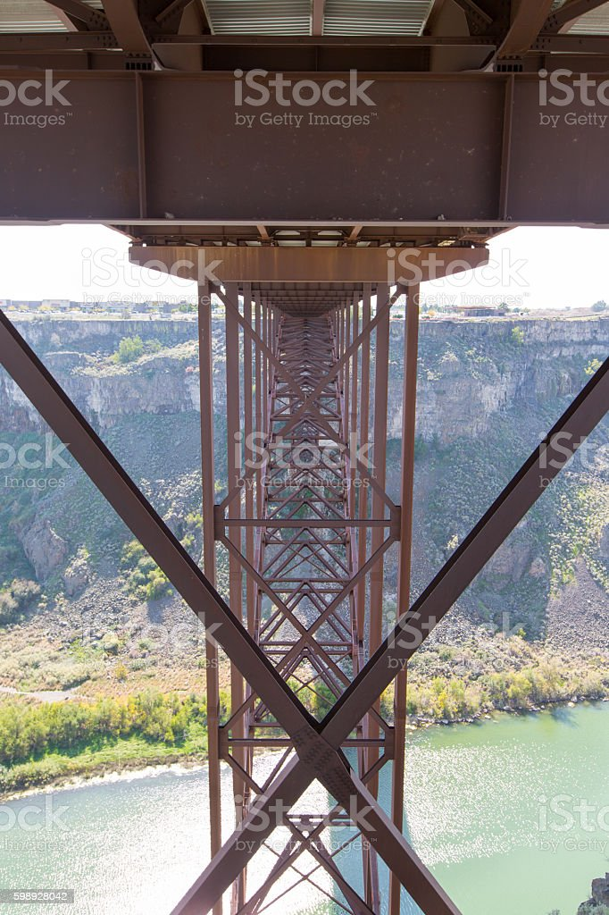 Underneath the old Perrine Bridge at Twin Falls stock photo
