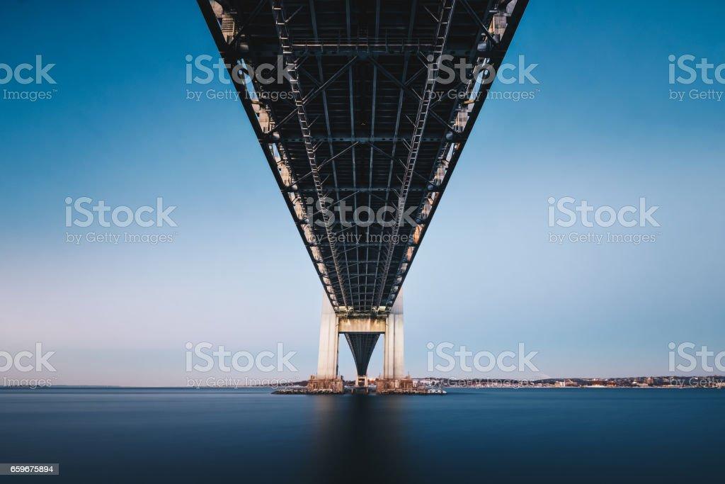 Underneath Verrazano Bridge stock photo