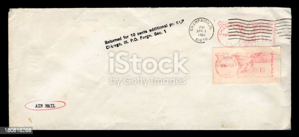 Underpaid envelope posted from Champaign, Illinois, in 1968. It was returned to sender.