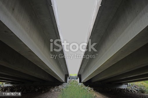Underneath a dual carriageway highway bridge