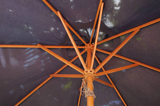 Underside of a Large Sun Umbrella stock photo